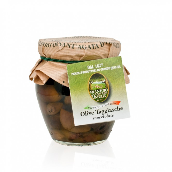 Pitted Green Taggiasca Olives in Extra Virgin Olive Oil